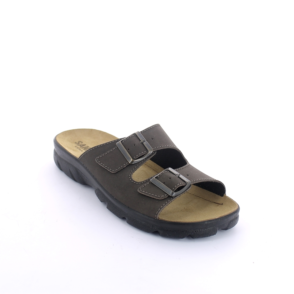Art. 701 Summer slipper for men with buckles and leather upper. Leather insole.