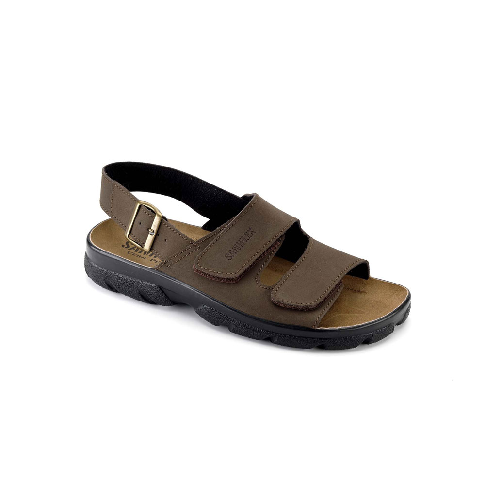 Art. 721 Summer sandal for men with velcro fastener and leather upper. Leather insole.
