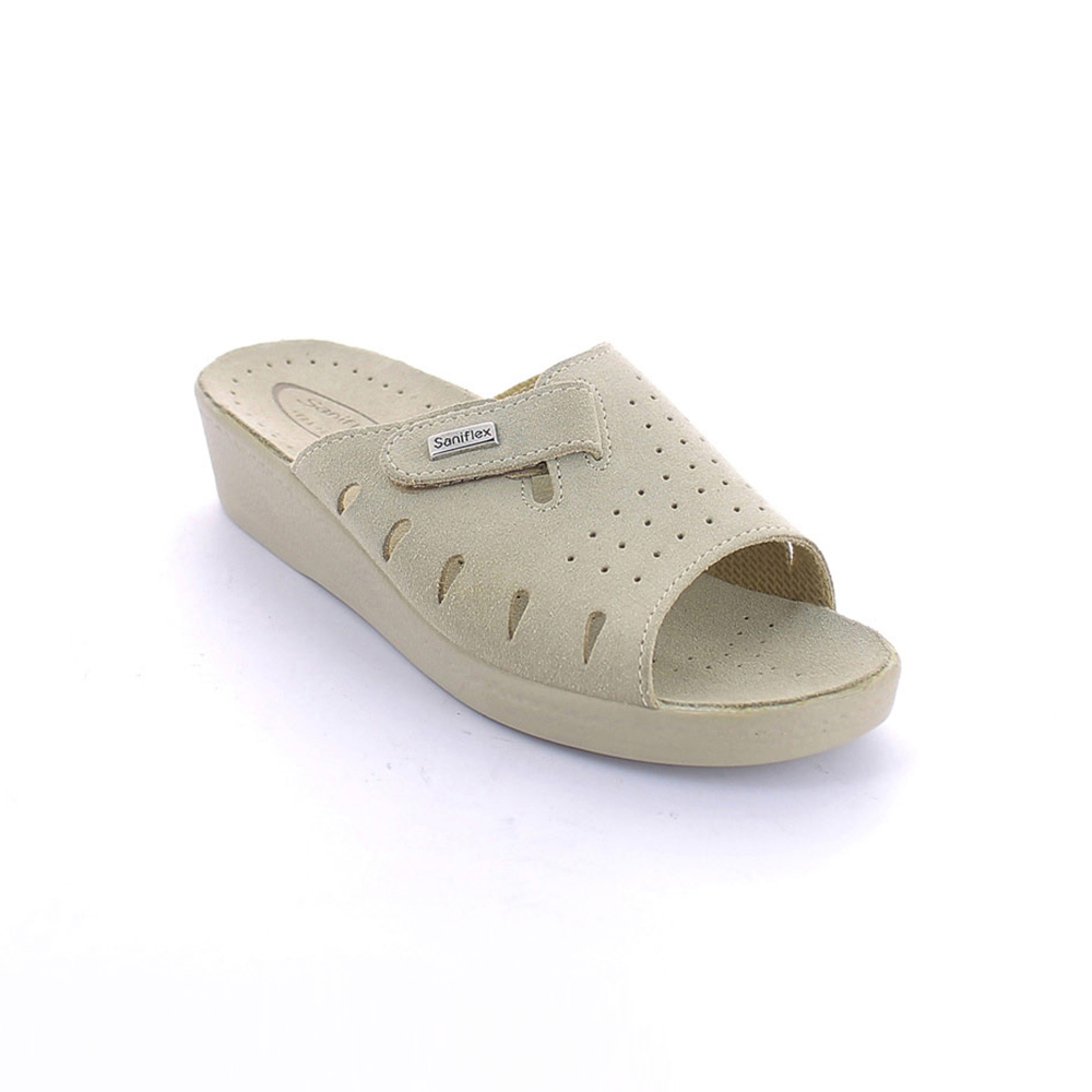 Summer slipper for women with flesh split leather insole