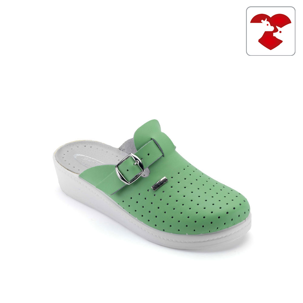 Leatherette and microfiber medical slipper for women - with padded insole