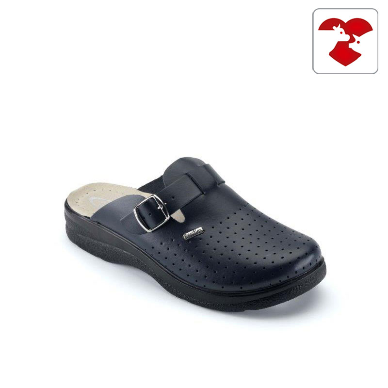 Leatherette and microfiber medical slipper for men - with padded insole